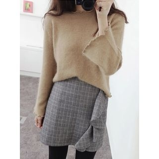 Frilled-Trim Wool Blend Knit Top 1054284770