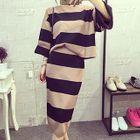 Set: Striped Knit Sweater + Mini Skirt 1596