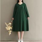 Long-Sleeve Chinese Frog Button Dress 1596