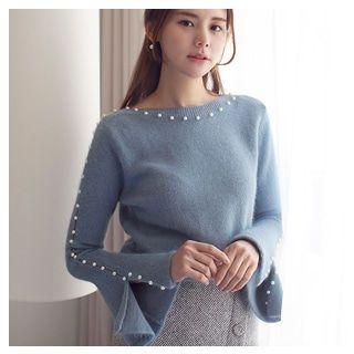 Wool Blend Slit-Sleeve Faux-Pearl Trim Knit Top 1064105044