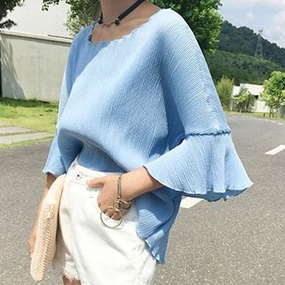 Ribbed 3/4 Sleeve Blouse 1052737041