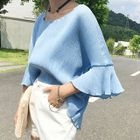 Ribbed 3/4 Sleeve Blouse 1596