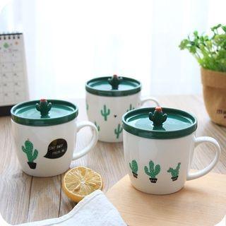 Cactus Print Ceramic Mug with Lid 1061395327