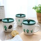 Cactus Print Ceramic Mug with Lid 1596
