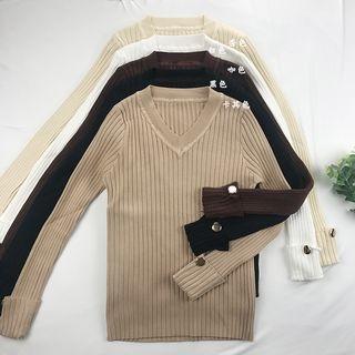 V-Neck Ribbed Sweater 1064299839