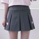 Heart Pleated Mini Skirt 1596