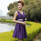 Sleeveless Bow-Accent Party Dress 1596