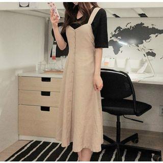 Plain Short-Sleeve T-Shirt / V-Neck Midi Pinafore Dress 1066195573