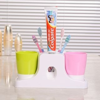 Set: Wall Suction Automatic Toothpaste Dispenser + Toothbrush Cup 1054065769