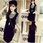Set: Striped Short Sleeve T-Shirt + Pinafore Dress 1596
