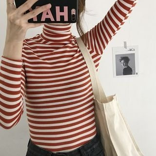 Striped Slim-Fit Turtle-Neck Long-Sleeve T-Shirt 1062790538