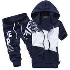Set: Short-Sleeve Hooded Zip Jacket + Sweatpants 1596