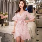 Short-Sleeve Striped Tie-Waist Dress 1596
