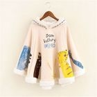 Fleece-Lined Printed Hooded Cape Top 1596