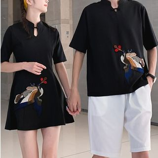 Image of Phoenix Embroidered Mini A-Line Dress / Short-Sleeve Embroidered Top / Drawstring Shorts