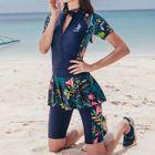 Set: Short-Sleeve Floral Panel Swim Top + Swim Pants 1596
