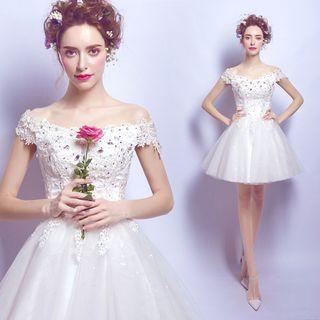 Short-sleeve   Wedding   Short   Dress   Lace