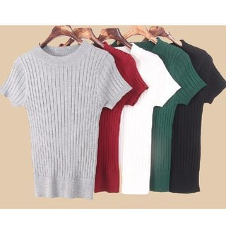 Ribbed Short-Sleeve Knit Top 1057853600