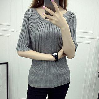 Ribbed Short-Sleeve Knit Top 1049672117