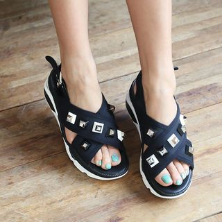 Studded Wedge Sandals 1050702442