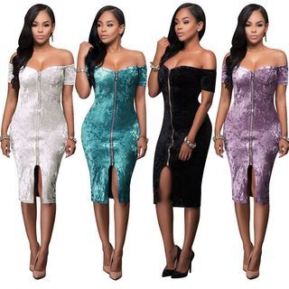 Off-Shoulder Zip Front Velvet Bodycon Dress 1059621348