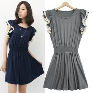 Buy HUE IT GIRL Lace Trim Ruffled Sleeve Dress 1022792203