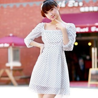 Buy Ringnor 3/4-Sleeve Polka Dot Bib Dress 1022979663