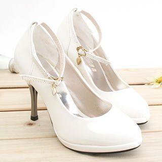 Buy KAWO Heart-Charm Ankle-Strap Stilettos 1022774070