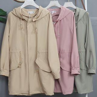 Image of Drawstring Waist Hooded Zip Jacket
