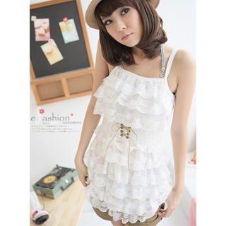Buy eFashion Sleeveless Ruffled Lace Babydoll Dress 1022898320