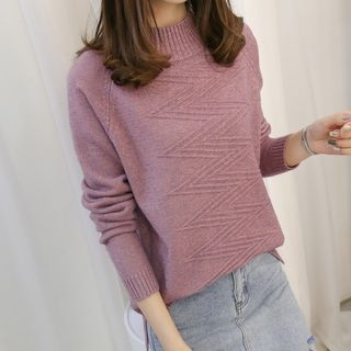 Ribbed Long-Sleeve Knit Top 1063822045