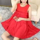 Maternity Plain Pleated Sleeveless Dress 1596