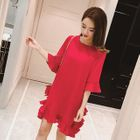 Elbow-Sleeve Frilled Dress 1596
