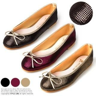 Picture of STYLE LINE Bow-Accent Metallic Flats 1022316066 (Flat Shoes, STYLE LINE Shoes, Korea Shoes, Womens Shoes, Womens Flat Shoes)