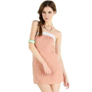 Faux Pearl Tube Dress