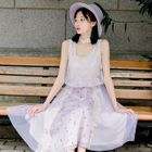 Set: Lace Panel Sleeveless A-Line Midi Dress + Shawl 1596