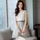 Set: Short-Sleeve Top + Paneled A-Line Skirt 1596