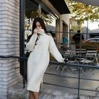 Turtle-Neck Ribbed Midi Sweater Dress 1596