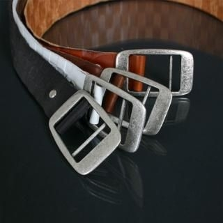 Buy ISNOM Genuine Leather Check Belt 1022366986