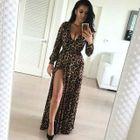 Slit-Front Leopard-Print Maxi Dress 1596