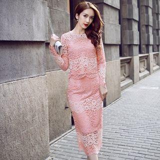 Set: Lace Top + Lace Pencil Skirt 1046167961