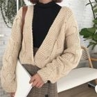 V-Neck Cable Knit Cardigan 1596