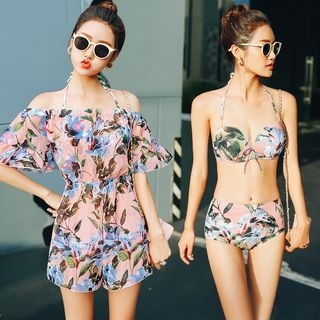 Set: Floral Print Bikini + Off-Shoulder Playsuit 1065632383