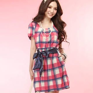 "Buy Tokyo Fashion Puff-Sleeve ""Ribbon"" Plaid Dress 1022996142"