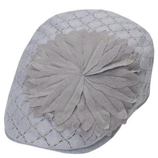 Buy GRACE Flower-Accent Lace Flat Cap Gray – One Size 1022812898