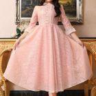 Long-Sleeve Lace Ruffled Dress 1596