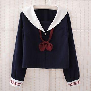 sailor-collar-v-neck-jacket