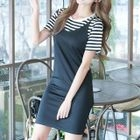 Set : Stripe Short-Sleeve T-shirt + Strap Dress 1596