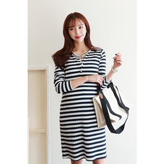 Maternity Nursing Striped Ribbed Henley Dress 1065337374