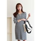 Maternity Nursing Striped Ribbed Henley Dress 1596